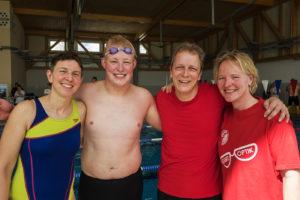 Masters 2016, Susann, Maximilian, Stefan und Astrid, 4x50m-Staff